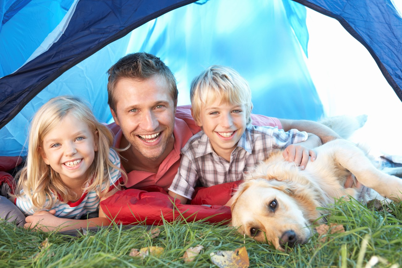 Dog, kids and family camping